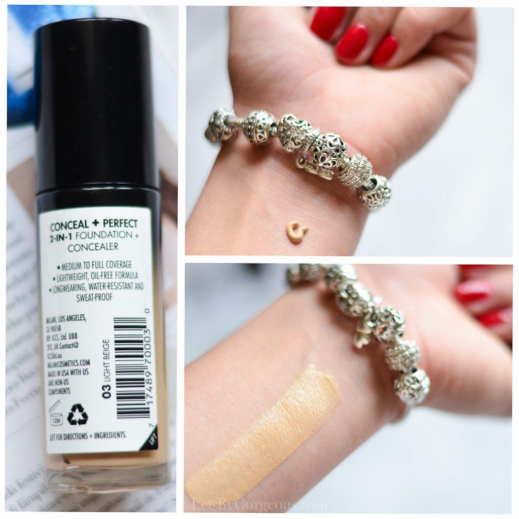 swatch fond de ten milani conceal perfect 03 light beige